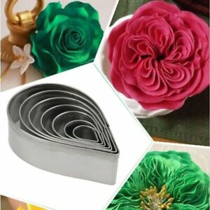 Austin Rose Cutter Cake Decoration Tools 7 Pcs Stainless Steel Water Drop Sha…