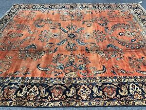 Museum Piece 1840's Royal Antique Floral & Vine Design Rug 10x12 Orange & Black