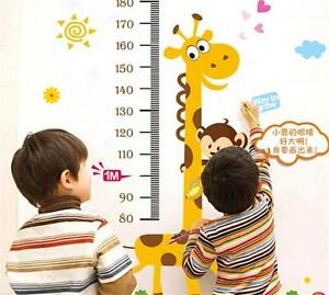 Kids Baby Room Giraffe Removable Height Chart Measure Wall Sticker Decal New