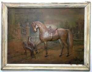 Antique Old c1890 Embossed Paper Print Horse Equine Hunting Dogs Greyhounds Rare