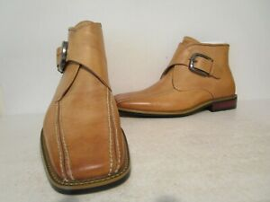 Donato Marrone Mens Leather Buckle Casual Ankle Dress Boots Shoes Tan Size 7 7.5