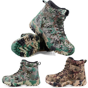Mens Hiking Hunting Camouflage Shoes Tactical Military Desert Ankle Boots Climb