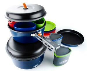 Outdoor Camping Cookware Gsi Full Set Of Plates Mugs Pots & More Blue