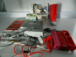 Nintendo Wii Limited Edition Red System Console Super Mario 3 Wii Remotes Bundle