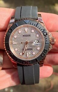 Rolex Yachtmaster Rose Gold 116655 40mm Pave Face - Unworn