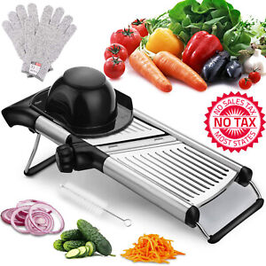 Adjustable Mandoline Vegetable Slicer With Free Cut-Resistant Gloves And Brushes