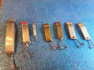 Vintage Super Duper Simple Simon Metal Fishing Lures Lot of 7