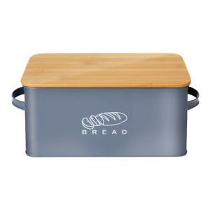 Bread Box Retro Metal Bin Kitchen Container Cake Keeper Food Storage Bamboo Lids