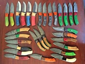 CUSTOM HANDMADE DAMASCUS STEEL BLADE HUNTING KNIFE SET (LOT OF 30). HK777