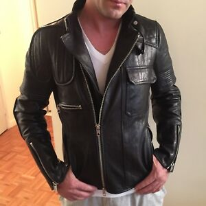 DIESEL BLACK GOLD MENS LEATHER JACKET SIZE S ORG. $1550