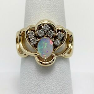 Elegant Natural Australian Opal Diamond 14k Gold Ring (2140D)