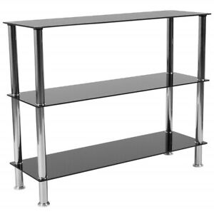 Small Media Storage Furniture Stand With Shelves DVD Shelf Tower Rack Black Unit