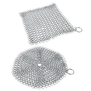 Stainless Steel Cast Iron Cleaner Chain Mail Scrubber Cookware Kitchen Tool
