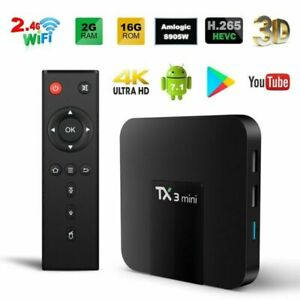 TX3 Mini Android 4K HD S905W Smart TV Box WiFi 4K 2GB 16GB HD Media Streamer New