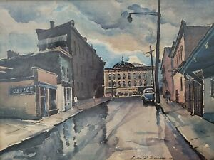 1939 Vintage Lester Roesner Lithograph 16th & Peach St. Erie PA Signed Numbered $59.60