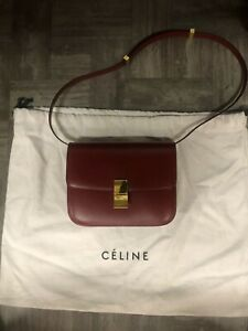 Authentic Celine Box Bag Flamma Red Gold Hardware Shoulder Bag