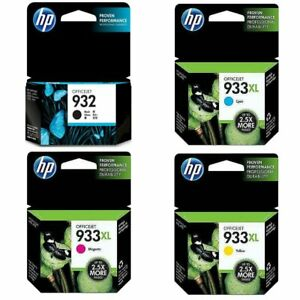 4 Pack HP Genuine 932 Black 933XL Color Ink No Retail Box OfficeJet 6100 6600