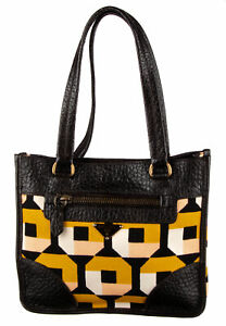 PRADA Black Printed Canvas Shoulder Bag