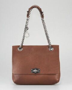 NEW Womens Lanvin Brown Leather Chain Strap Shoulder Purse w Dust Bag GIFT