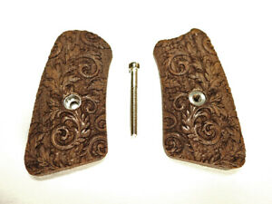 Floral Scroll Walnut Ruger SP101 Grips Inserts Checkered Engraved