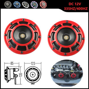 Red Electric Compact Car Horn Super Loud Blast Tone Grill Mount 12V 335HZ 400HZ $14.99