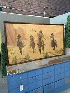 Rhinehart Burke original Oil Painting Horses Cowboys Indians Signed 1971 Art VTG