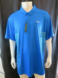 Nike Golf Dri Fit Big and Tall 2x Polo Shirt New with Tags Blue with Aqua Stripe