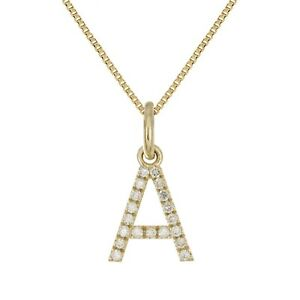 14k Yellow White or Rose Gold Diamond Initial Letter Charm Pendant Necklace 18