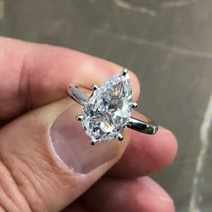 3 Ct Pear Cut Diamond 10k White Gold Solitaire Engagement Ring For Ladies