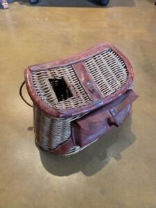 Wicker Fishing Creel made in British Hong Kong with Tackle pouch