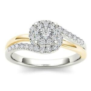 10Kt White Yellow Gold 0.48 Ct Diamond Engagement Halo Ring