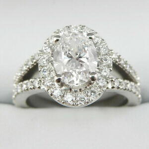 Halo Set 3TC Oval Cut Diamond 10k Solid White Gold Split Shank Engagement Ring