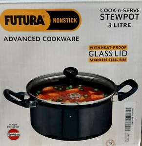 Hawkins Futura Cook-n-Serve Non Stick Stewpot 3 Ltr  with Glass Lid