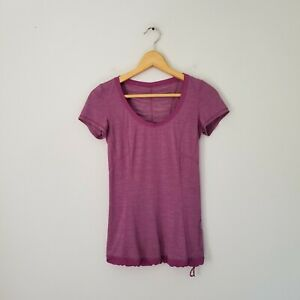Lululemon Run Silver Bullet Short Sleeve Tech  Workout Top Purple Sz 2