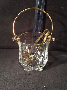 Eloquent Lead Crystal Ice Bucket Gold Trim Thick Glass Gold Tongs amp; Handle Italy $59.14