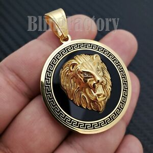 HIP HOP ICED BUST DOWN GOLD PT LION HEAD MEDALLION STAINLESS STEEL CHARM PENDANT $14.24