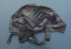 PASGT US Helmet Cover Parachutist Woodland Camo 3rd Infantry Division Patched