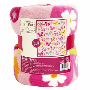 Kids Pink Butterfly Super Soft Micro Plush Throw Blanket 50x60 Nap ,Girls Gift