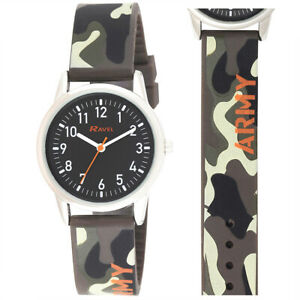 Children's Army Camouflage Watch with Black Dial and Camouflage style Strap.