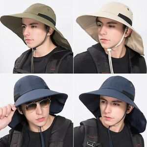 Summer Outdoor Boonie Sun Cap Fishing Hat For Men Wide Brim Protection Neck