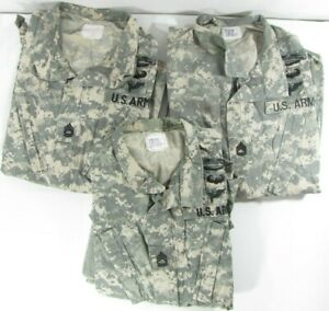 3 Original USGI Military Surplus Army Camouflage ACU Shirts Tops Blouses Patches