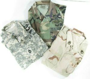 3 Original Military Surplus Army ACU Woodland Desert Shirts Tops Blouses Patches