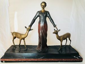 Bronze Lady with Deers Sculpture Art Deco Chiparus reproduction Large Gorgeous