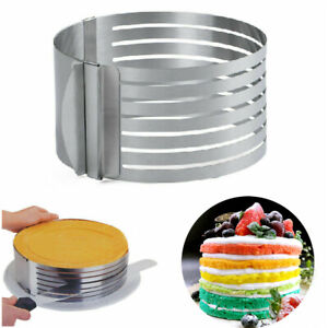 Cake Layer Slicer Cutter Adjustable Retractable Stainless Steel Mousse Mold Gift