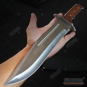 16quot; Saw Back Full Tang Fixed Blade Bowie Knife Hunting Survival Wood w Sheath