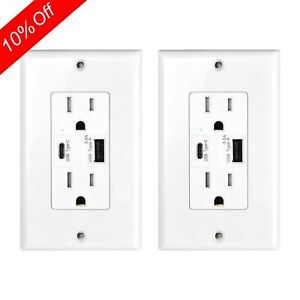 2PK 5.8A Type C USB Wall Outlet Charger TR Duplex Receptacle for Phone Tablet