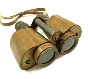 Antique Maritime Heavy Brass Leather Binocular with Strap Nautical Collectables $105.00