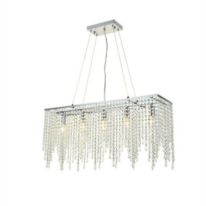 A1A9 Rectangular Crystal Light Chrome Finished Island Dining Room Chandelier