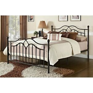 Queen size Brushed Bronze Metal Bed with Headboard and Footboard