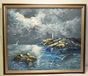 Vintage Textured Seascape Lighthouse Oil Painting Framed Blues Signed R. Kosta $89.00